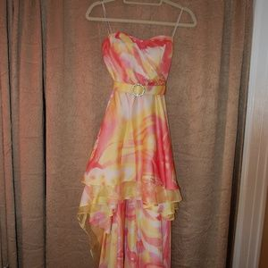 Strapless Sunset Water Color High Low Dress